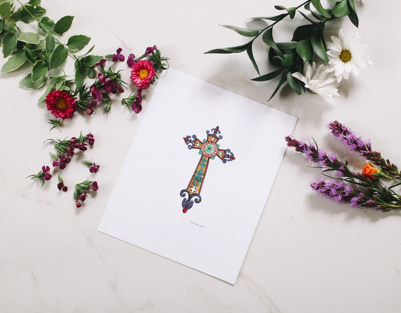 Medieval Cross Wall Print - Falling Leaf Card Co.