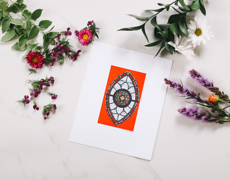 Red Marquis Stained Glass Wall Print - Falling Leaf Card Co.