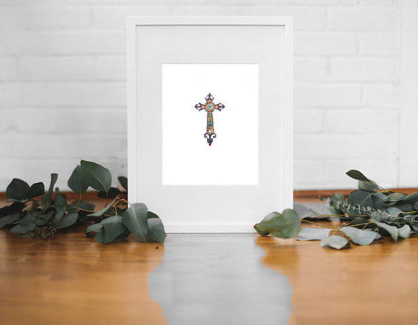 Medieval Cross Wall Print (Framed) - Falling Leaf Card Co.