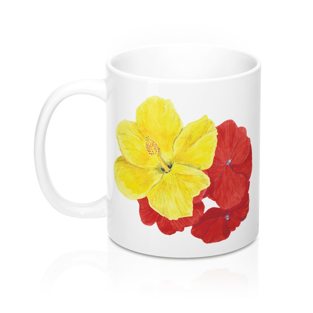 Coffee Mug - Hibiscus/Impatiens - Falling Leaf Card Co.