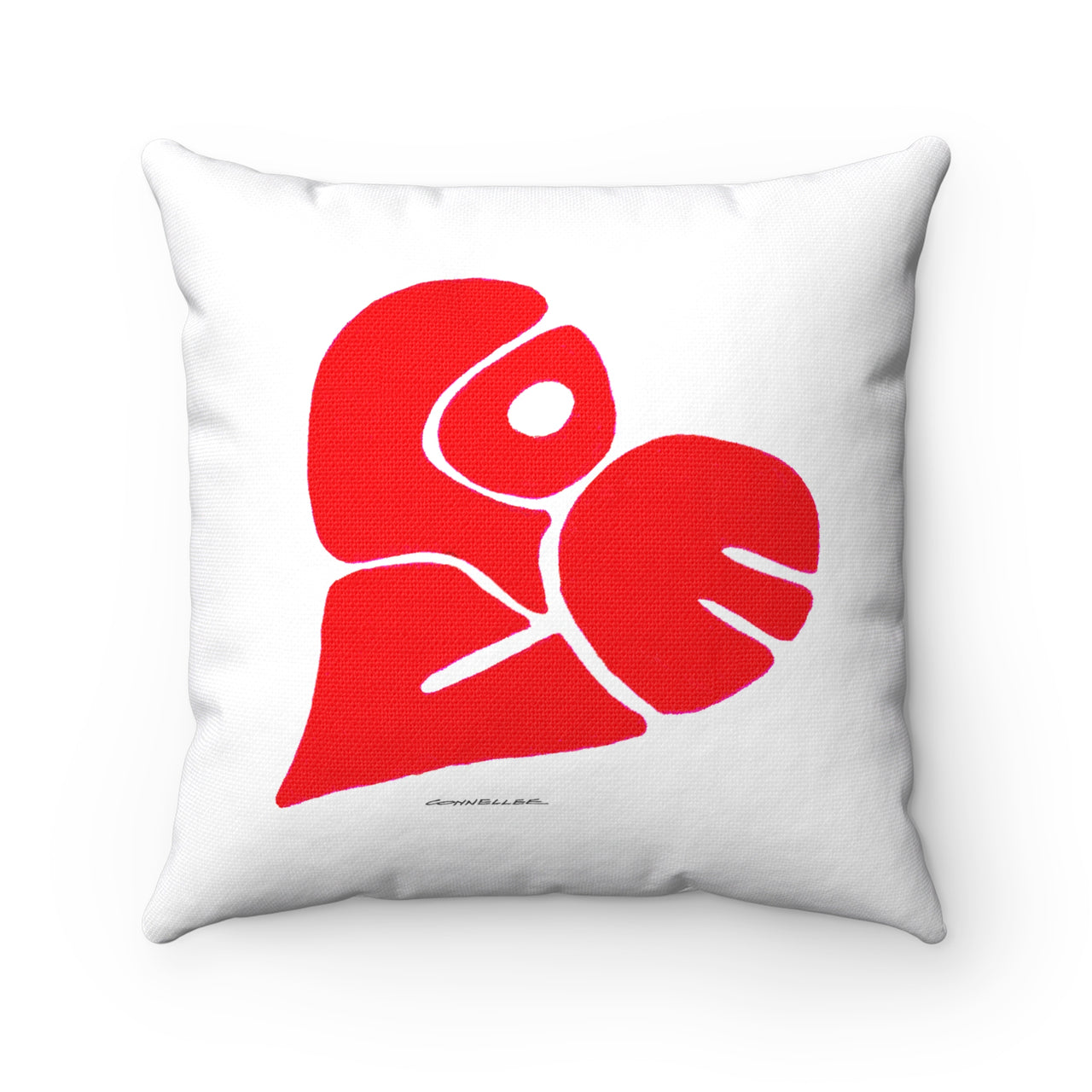 Pillow- White Love Heart Polyester Square - Falling Leaf Card Co.