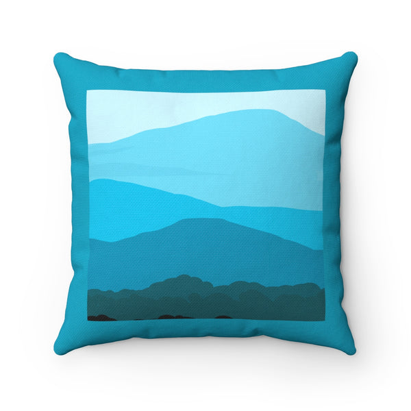 Pillow - Blue Ridge Mountain- Turquoise Spun Polyester Square - Falling Leaf Card Co.