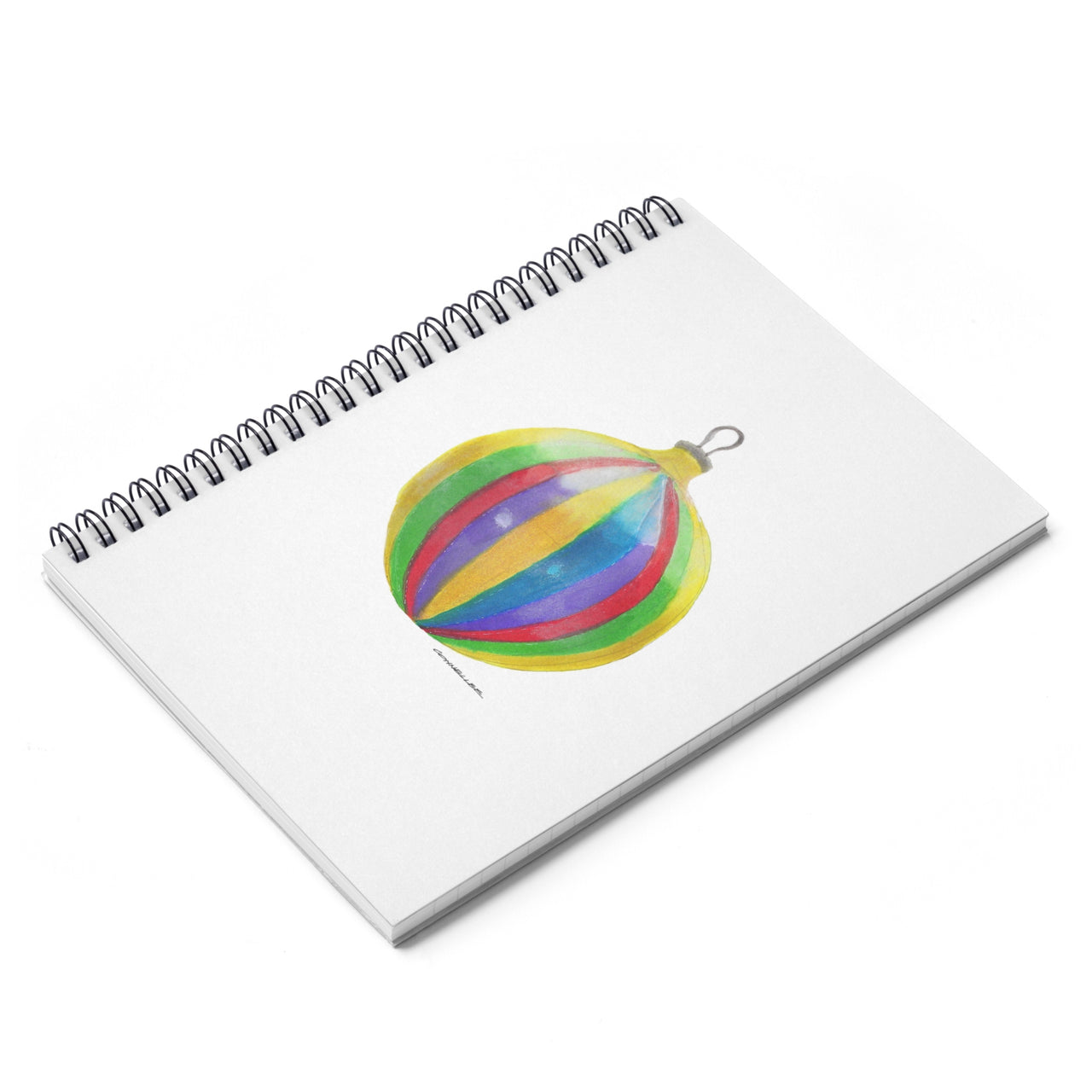 Journal - Striped Christmas Ornament Spiral Notebook - Ruled Line - Falling Leaf Card Co.