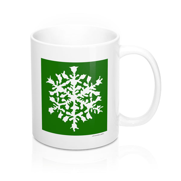 Coffee Mug - Green Snowflake - Falling Leaf Card Co.