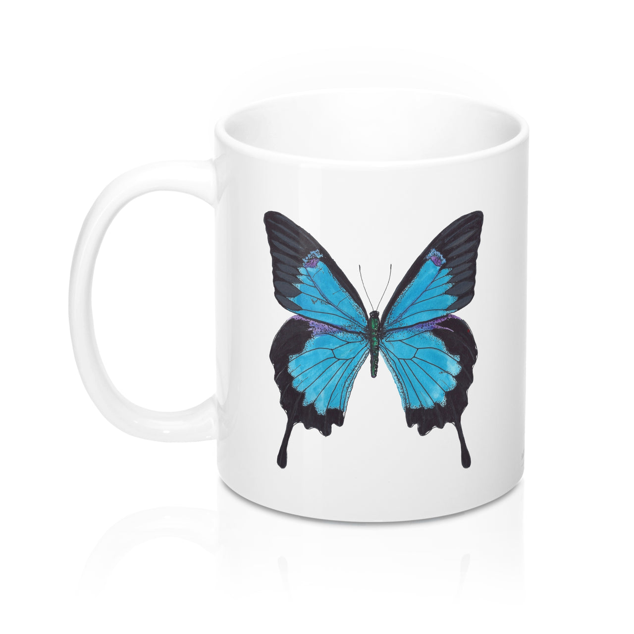 Coffee Mug - Blue Butterfly - Ceramic - Falling Leaf Card Co.