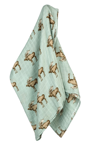 TurtleDiapers.com: Milkbarn Bow Tie Moose Bamboo Swaddle - Milkbarn