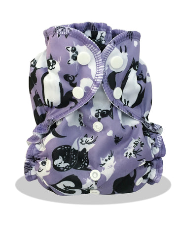 AppleCheeks Limited Edition Envelope Diaper Cover One Size - Caturday