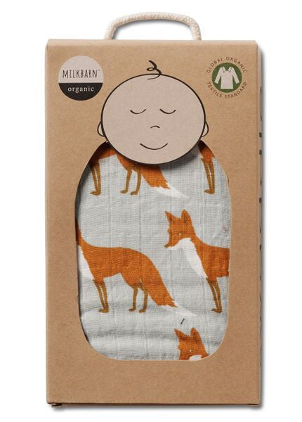 TurtleDiapers.com: Milkbarn Muslin Swaddle Blanket - Orange Fox - Milkbarn