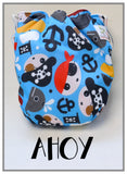TurtleDiapers.com: Bottombumpers Size 2 Aplix Cloth Diaper - Ahoy - Bottombumpers