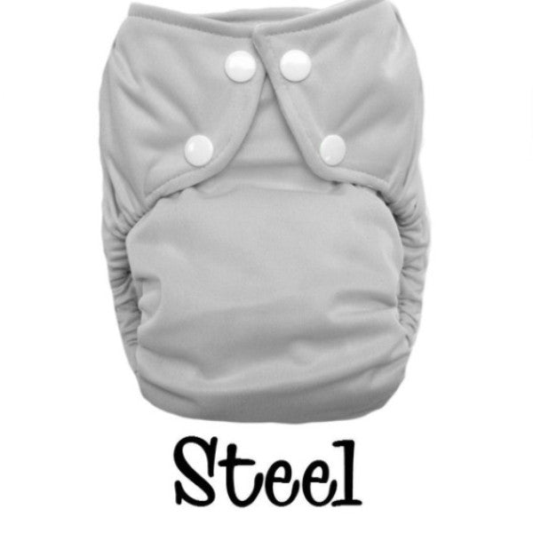 Bottombumpers Size 2 Front Snap Cloth Diaper - Steel