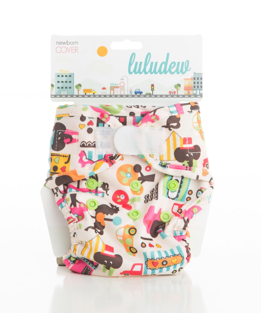 Luludew Newborn Hook and Loop Cloth Diaper Cover - Circus