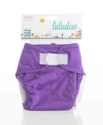 TurtleDiapers.com: Luludew Newborn Hook and Loop Cloth Diaper Cover - Grape - Luludew