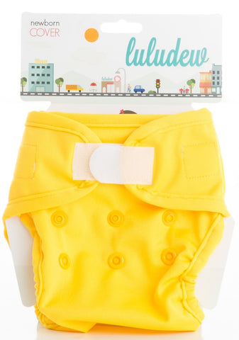 TurtleDiapers.com: Luludew Newborn Hook and Loop Cloth Diaper Cover - Lemon - Luludew
