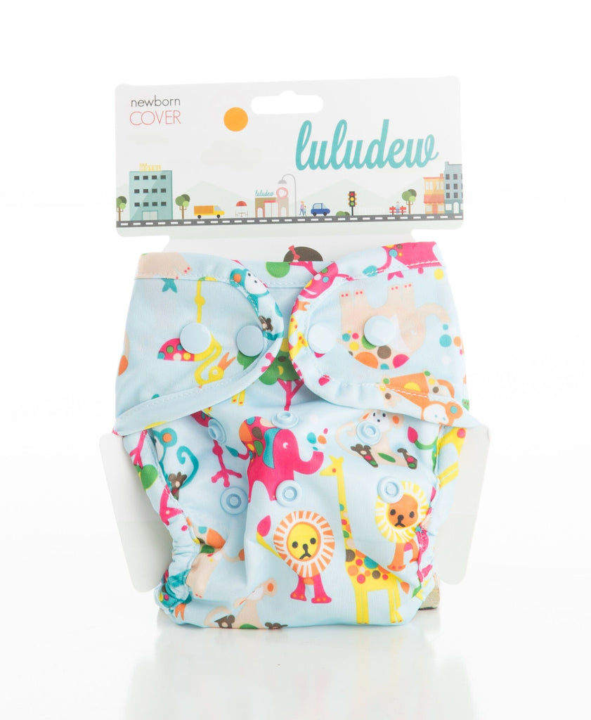 TurtleDiapers.com: Luludew Newborn Snap Cloth Diaper Cover - Animals - Luludew