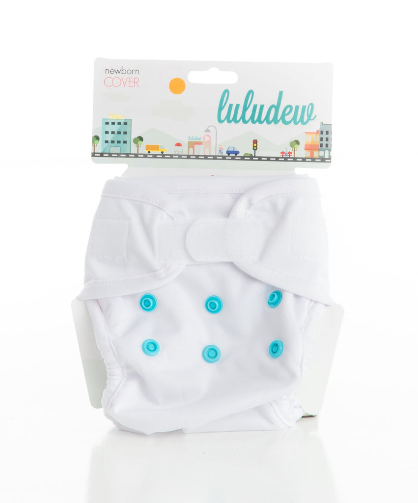 Luludew Newborn Hook and Loop Cloth Diaper Cover - Snow