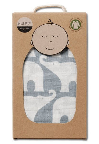TurtleDiapers.com: Milkbarn Muslin Swaddle Blanket - Blue Elephant - Milkbarn
