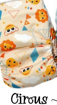 TurtleDiapers.com: Bottombumpers Size 2 Aplix Cloth Diaper - Circus - Bottombumpers