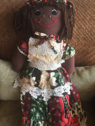 """Hanna Holiday"" Our Christmas Rag Doll - http://www.dollsbybertrand.com/store"