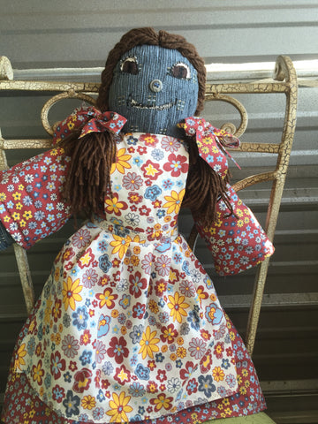 """Barbie Blue"" - 21 Inches Tall (Our First Rag Doll) - http://www.dollsbybertrand.com/store"