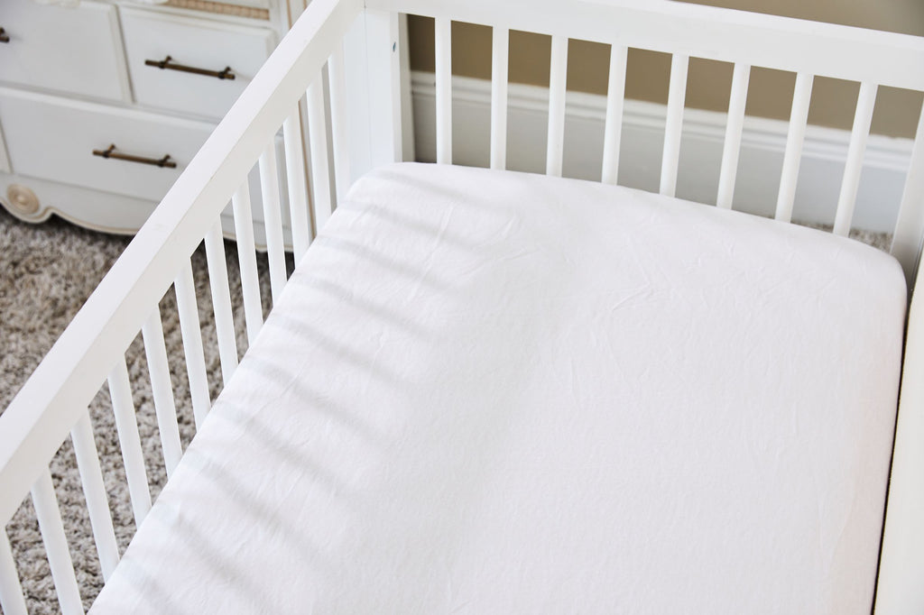 Pure Linen Crib Sheet in Fresh White