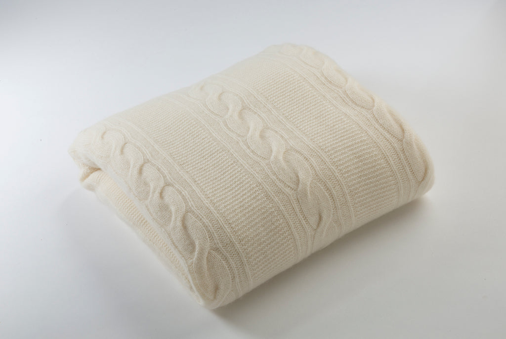 Cream Cashmere Throw Blanket