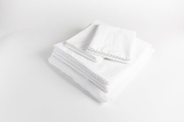 Cotton Percale Sheet Set - Dove White