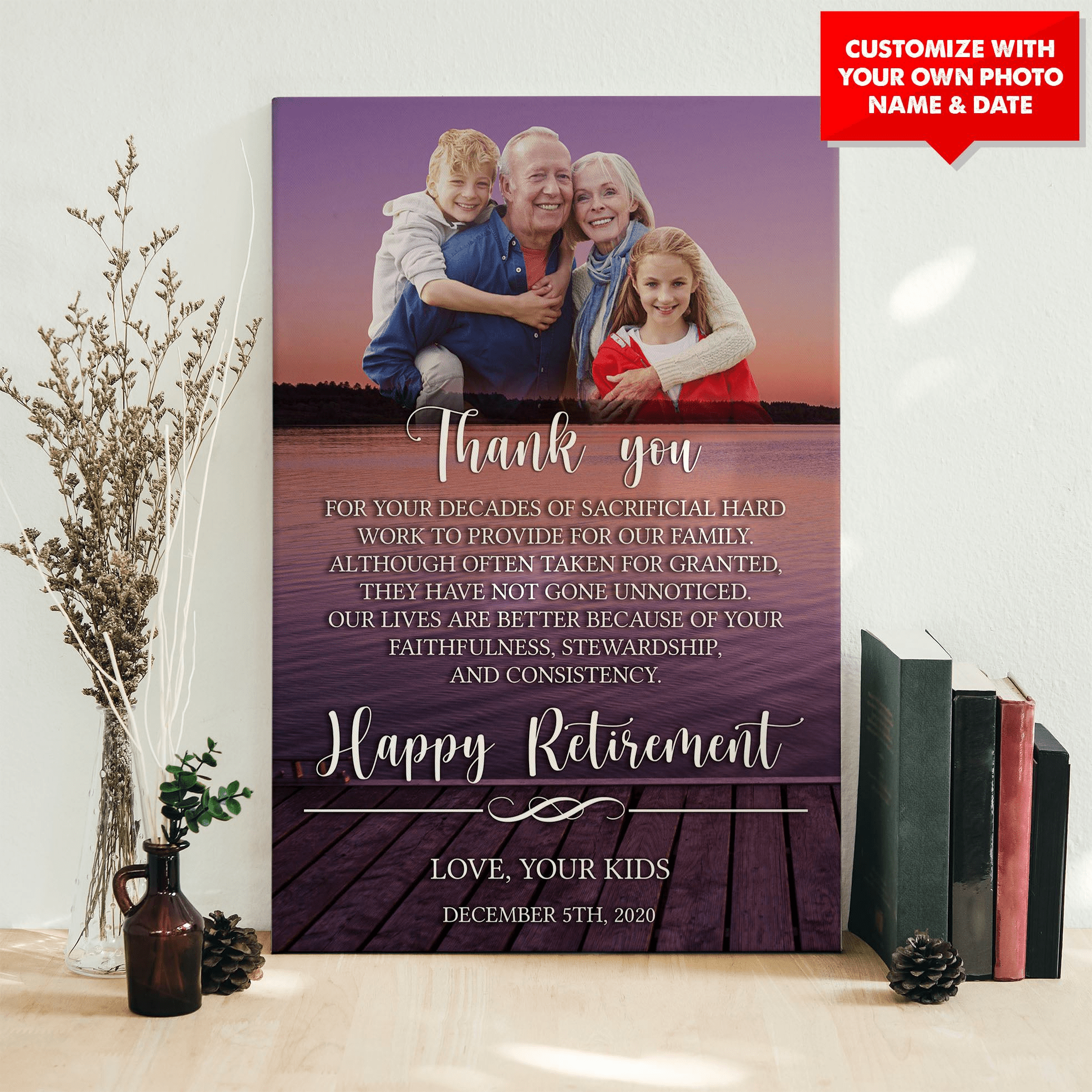 personalized retirement gift for dad wall canvas