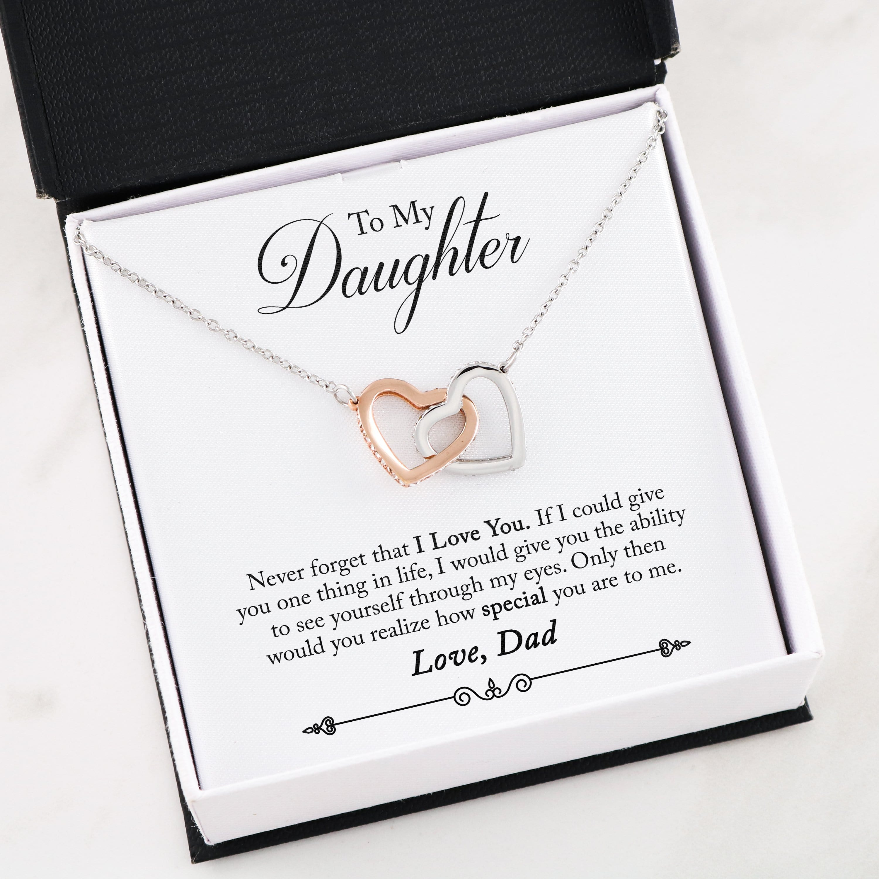 To My Daughter, Never Forget That I Love You - Interlocking Heart Necklace