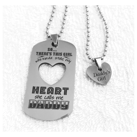 Image of Daddy's Girl Necklace Set Stainless Steel