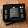 Personalized Retirement Gift For Dad Black Flask With Shot Glasses