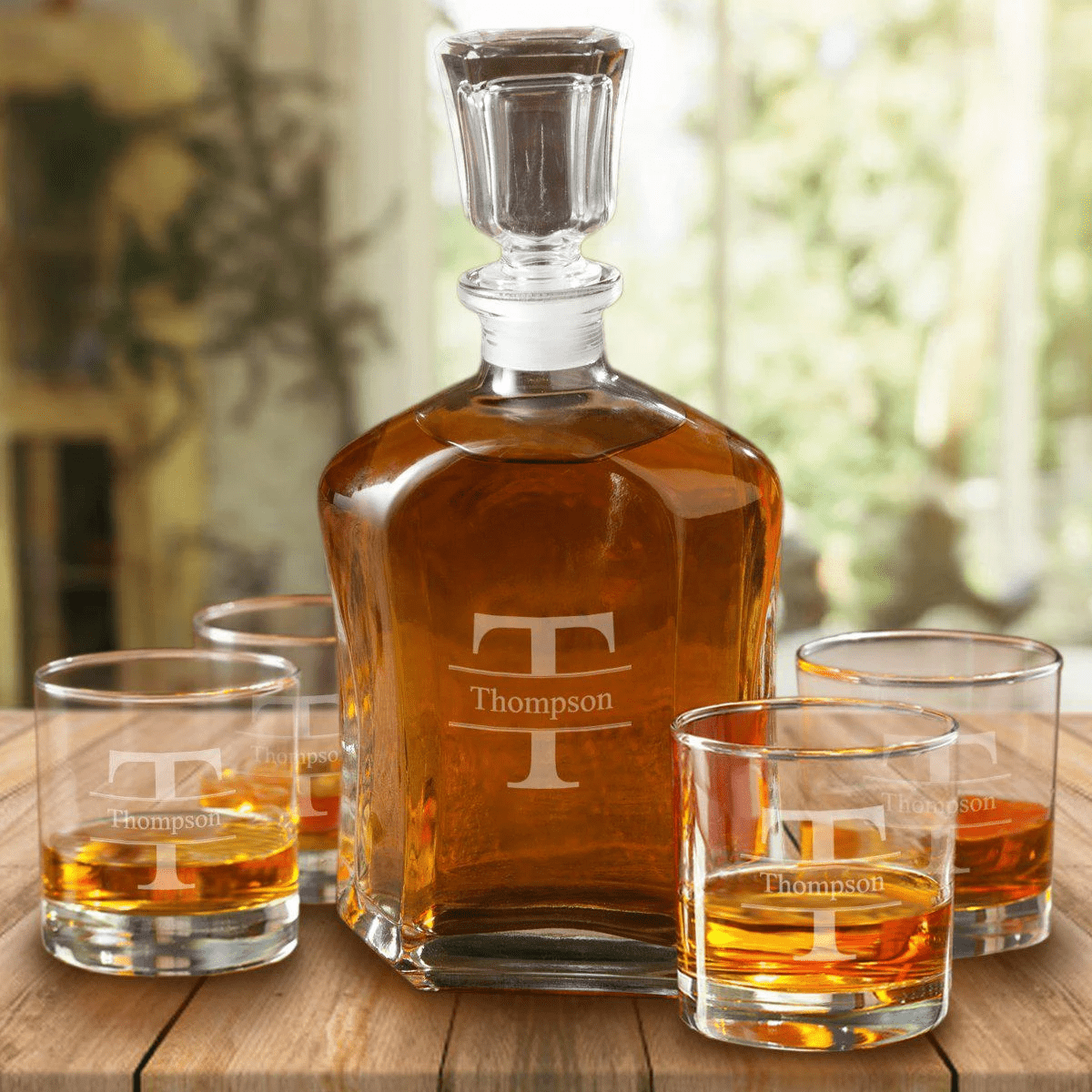 Retirement Gift For Dad Personalized Whiskey Decanter With 4 Whiskey Glasses