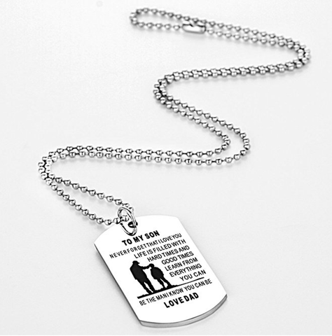 Image of To My Son Stainless Steel Dog Tag