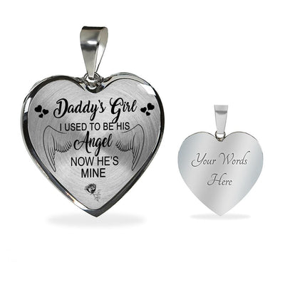 I Used To Be His Angel Now He's Mine Heart Pendent
