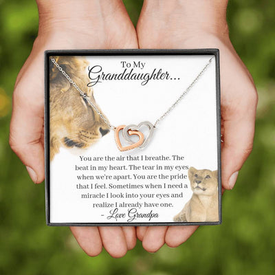 Granddaughter You Are My Miracle Interlocking Hearts Necklace