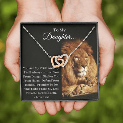 Daughter You Are My Pride And Joy Interlocking Heart Necklace