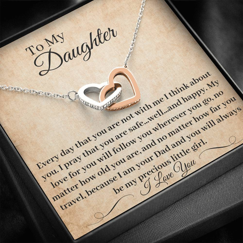 Father Daughter Necklace My Love Will Follow You