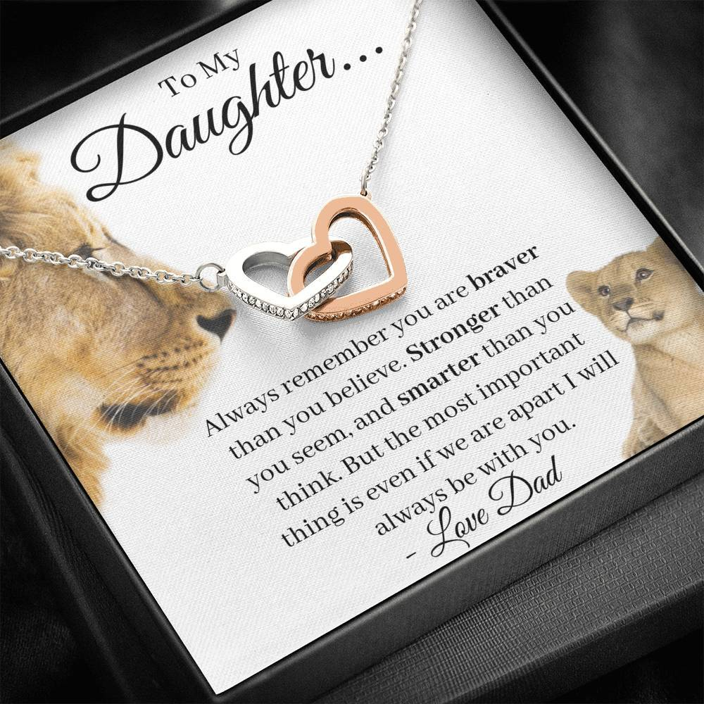 Daughter Always Remember You Are Braver Interlocking Hearts Necklace