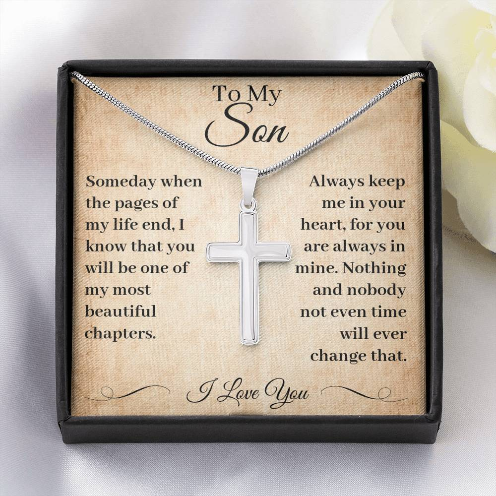 To My Son Cross Necklace When The Page Of My Life End