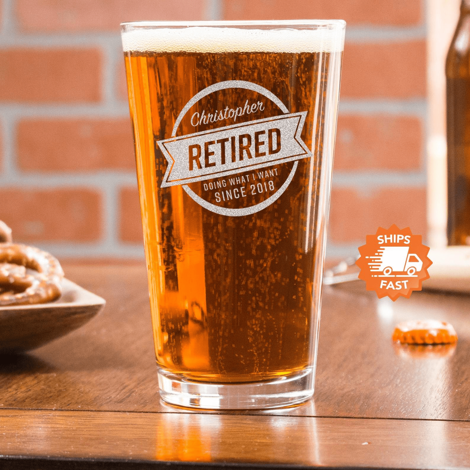 Retirement Beer Glass Gift For Dad Personalized
