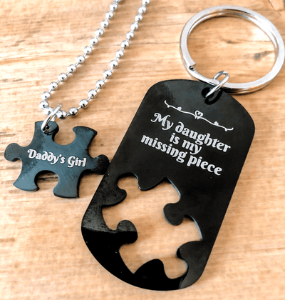 Dad Daughter Necklace My Daughter Is My Missing Piece Daddy's Girl Necklace