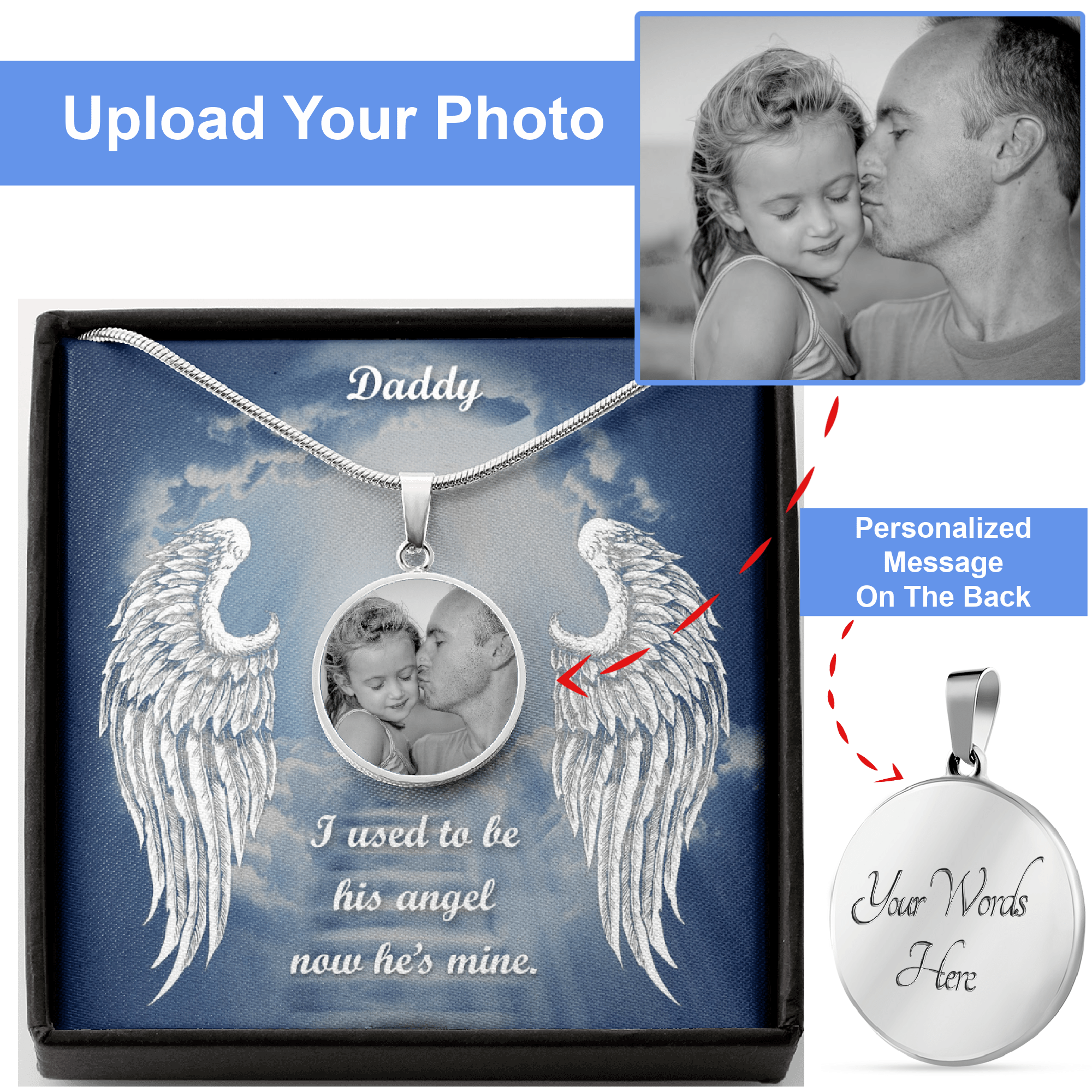 Daddy In Loving Memory Necklace With Picture I Used To Be His Angel Now He's Mine