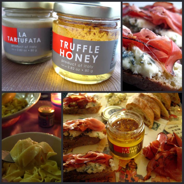 Truffle honey crostinis