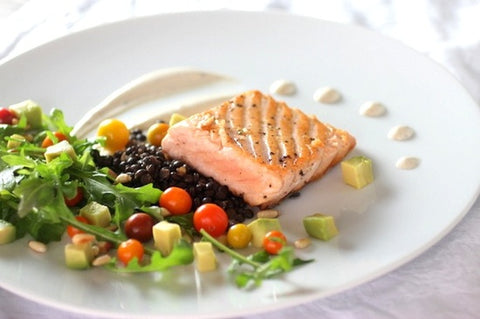 salmon and white truffle cream