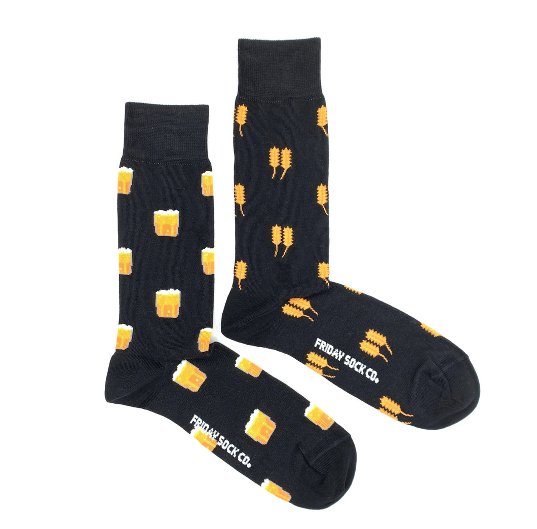 FRIDAY SOCK CO. - Men's Black Wheat & Beer Mismatched Socks (6094542110872)