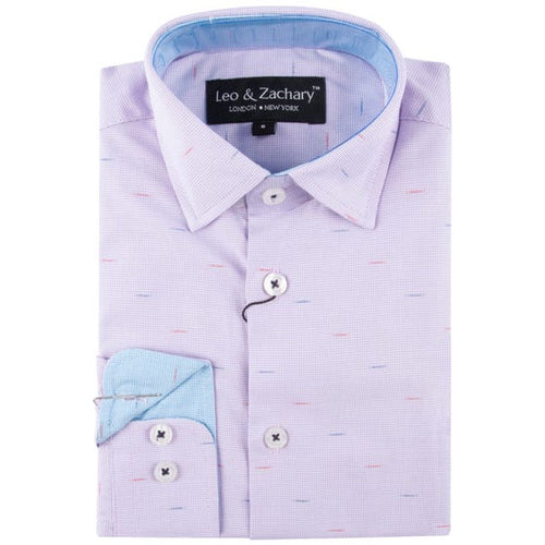LEO & ZACHARY - Boys Dress Shirt Lavender Strand 5767 - Guys and Co.