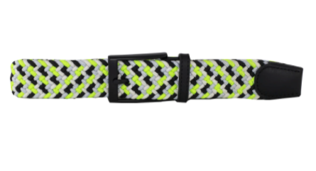 DIBI - Black, White, Neon Yellow, & Silver Elastic Belt BLT-003 - Guys and Co.
