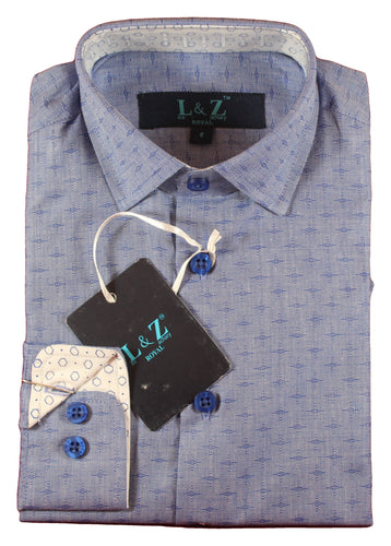 LEO & ZACHARY - Boys Dress Shirts Deep Blue Vector 5742 - Guys and Co.