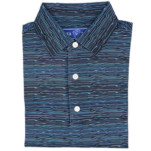 USA PALM - Pique Stretch Golf Polo: Night Tide - Guys and Co.