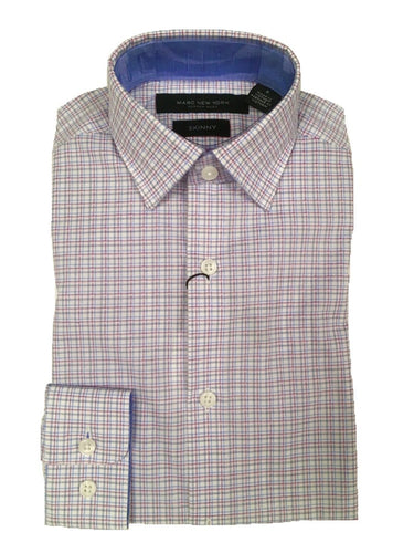 MARC NY ANDREW MARC - Boys Skinny White/Pink Plaid Dress Shirt - Guys and Co.