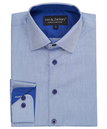 LEO & ZACHARY - Boys Dress Shirt Blue Dobby Wave 5738 - Guys and Co.